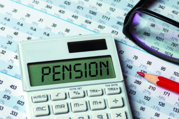 pension concept shown on calculator